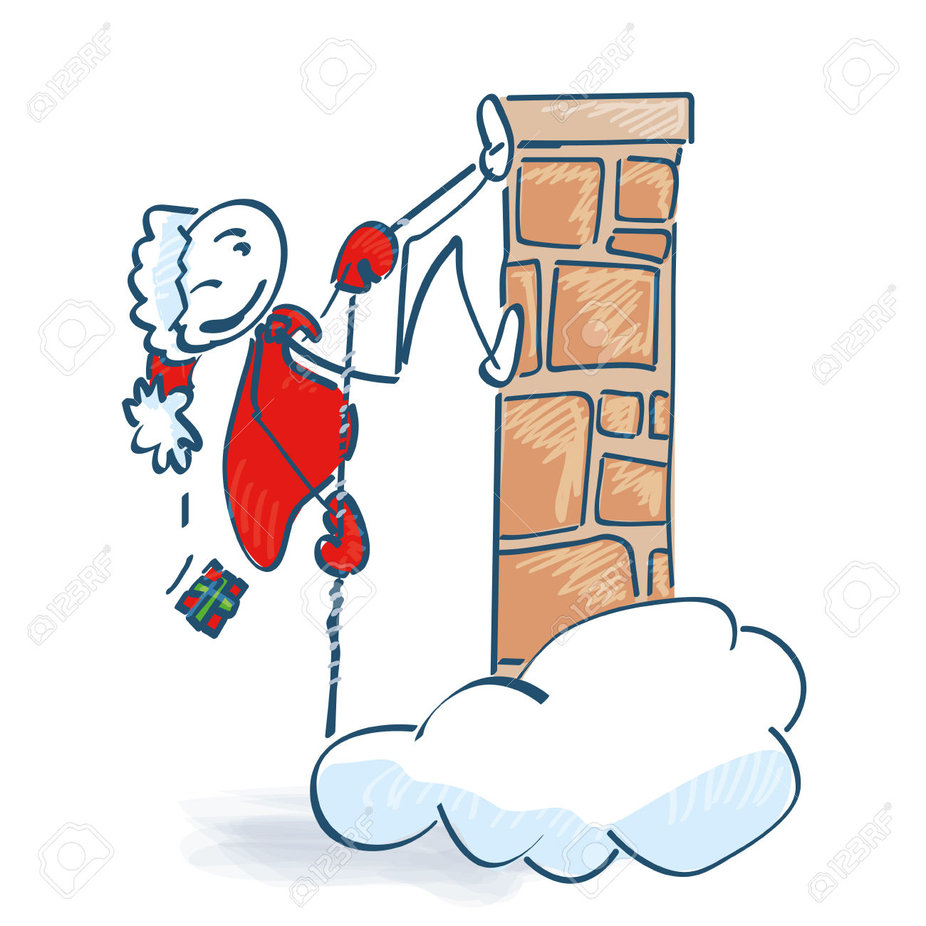 Stick Figure Santa Goes High At The Stone Royalty Free Cliparts.