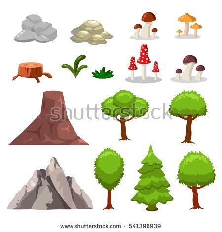 Isometric 3d Forest Camping Elements Landscape Stock Vector.