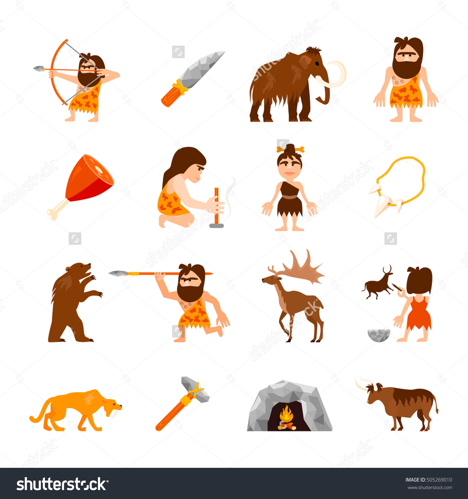 Stone Age Icons Set Caveman Animals Stock Vector 505269010.