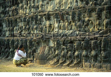Stock Photography of Stone figures, Terrace of The Leper King.