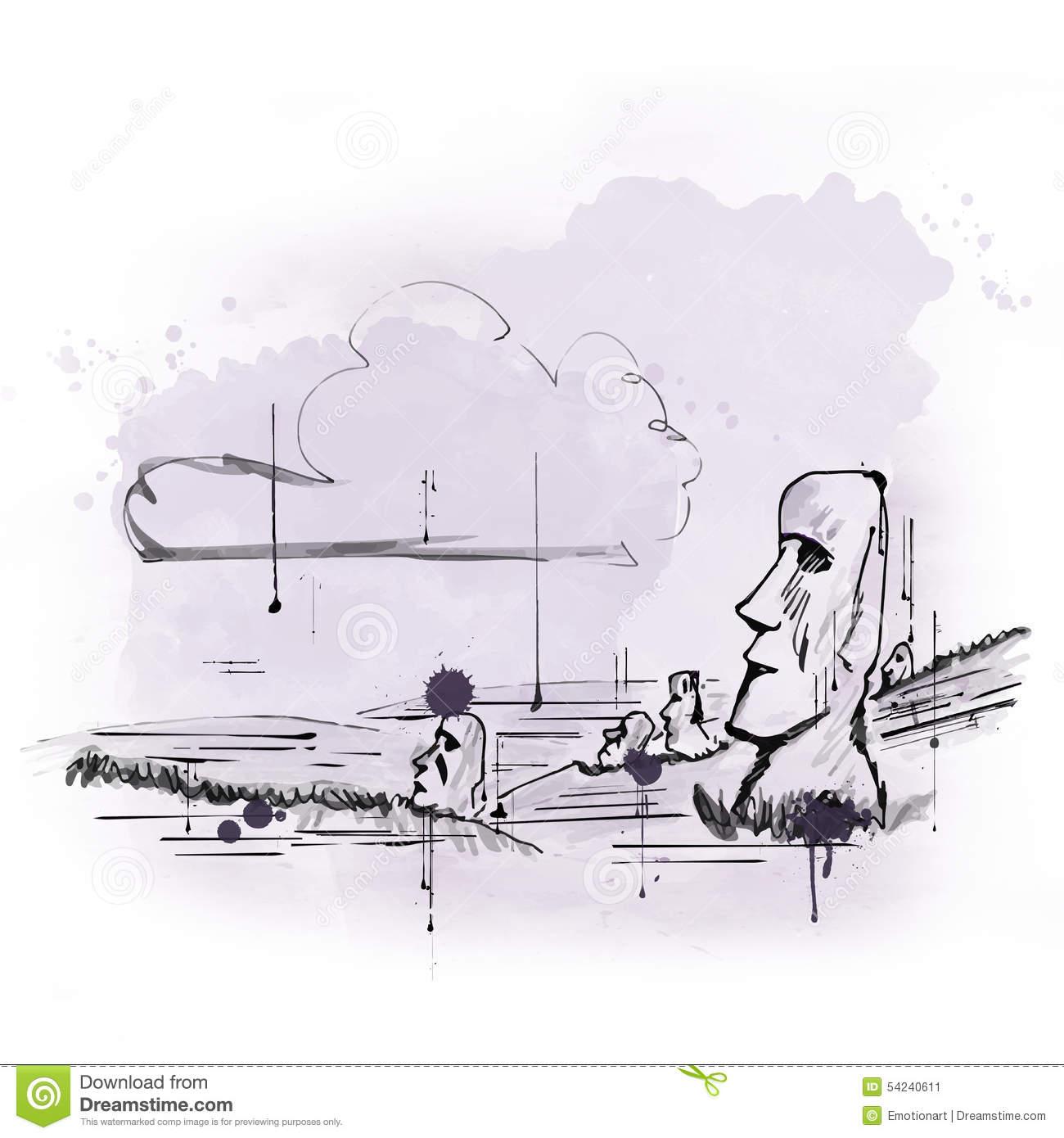 Illustration Of Moai On Easter Island Stock Illustration.