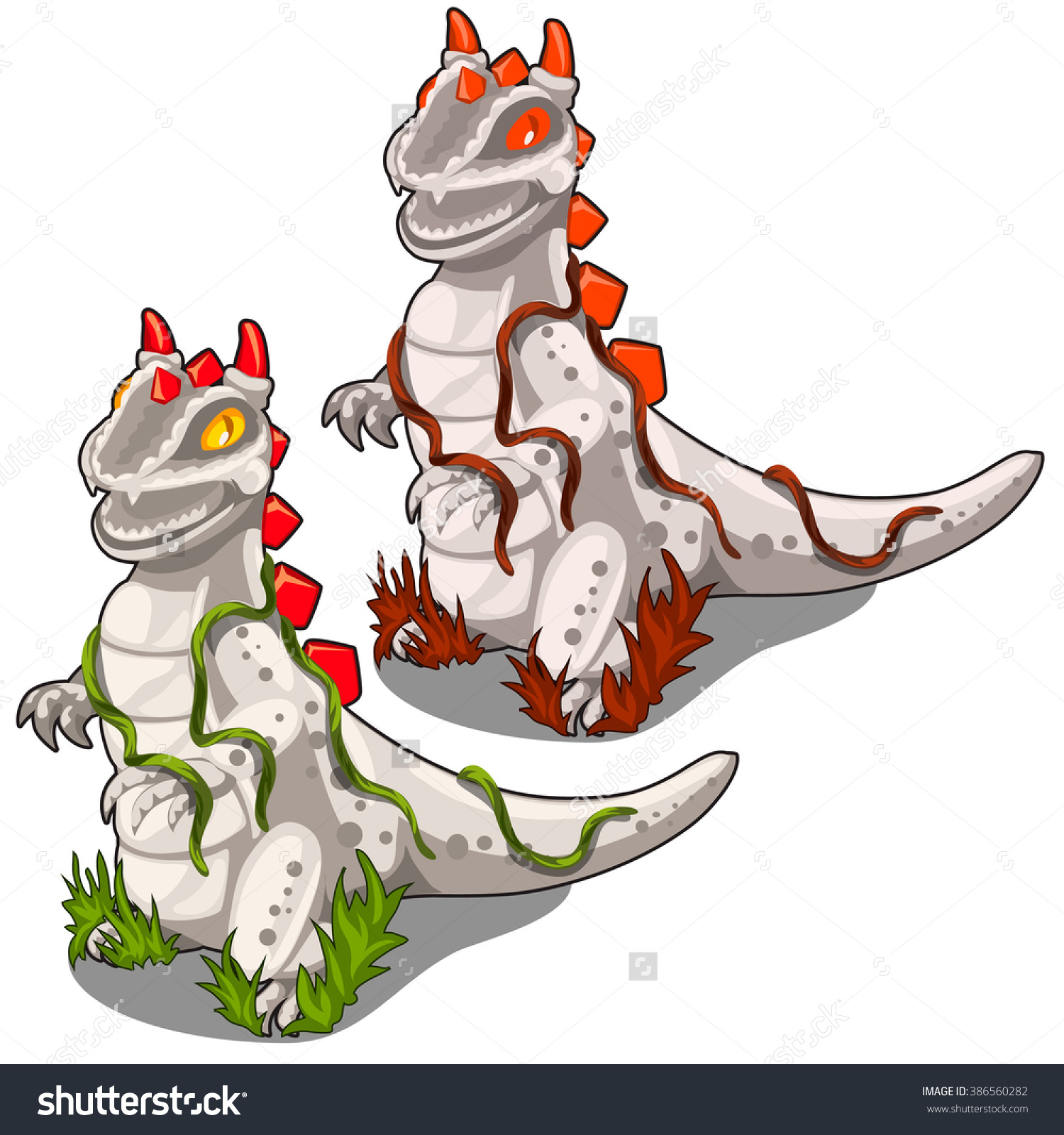 Two Stone Figures Of Dragons For Decorating The Garden Or Park.