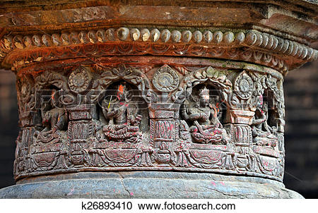 Stock Photography of Carved stone figures on a public Hindu temple.