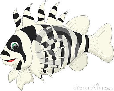 Lionfish Cartoon Stock Photo.