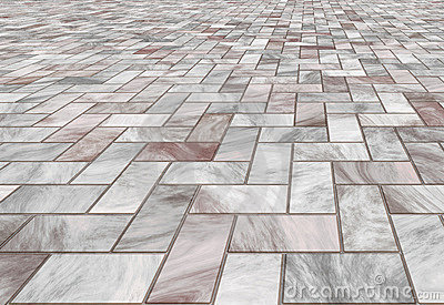 Paved Marble Floor Tiles Stock Photos.