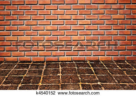 Clip Art of brickwall and old stone floor pattern k4540152.