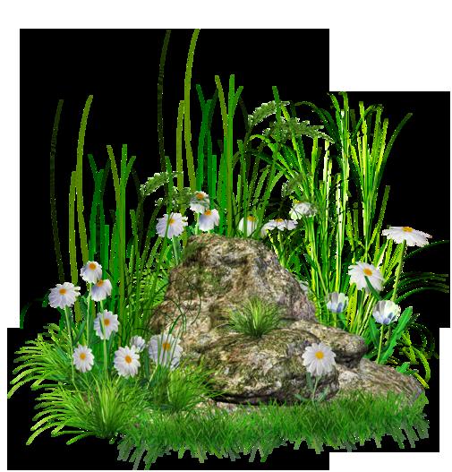 Камень с травой и цветами PNG Клипарт.