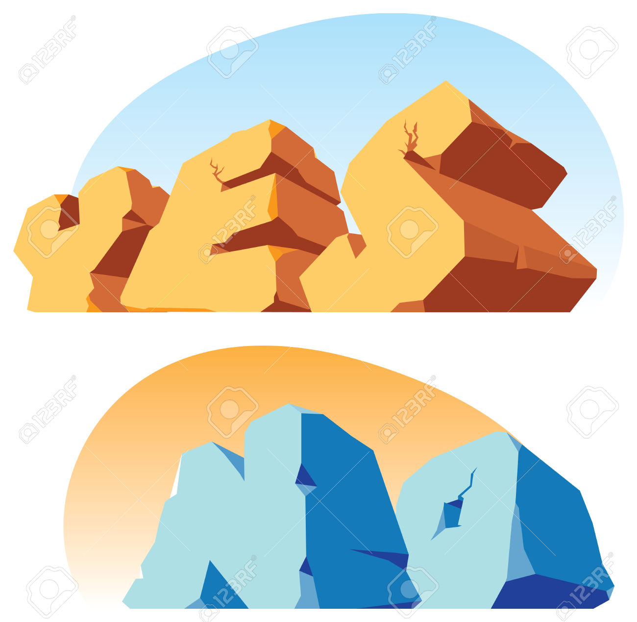 Alphabet Made Of Stone, Single Words Yes, No. Vector Illustration.