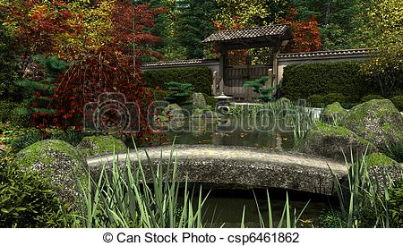 Clip Art of Japanese Garden and Koi Pond, Autum.