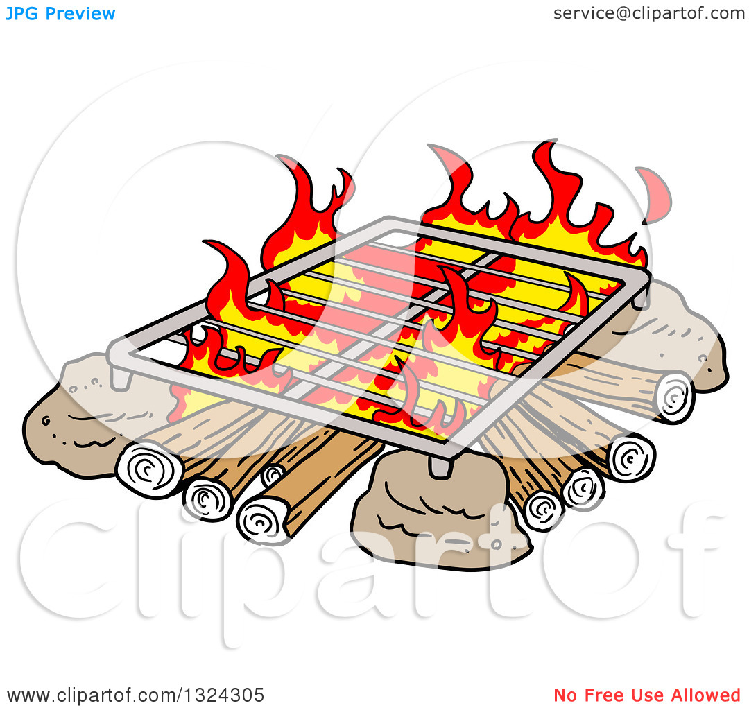 Clipart of a Cartoon Grill over a Camp Fire.