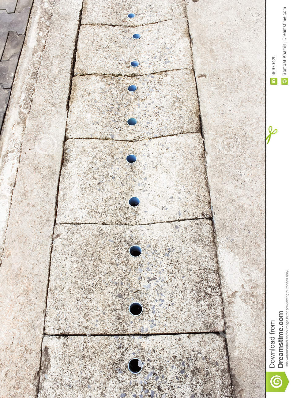 Concrete Cover Of Gutter Stock Photo.