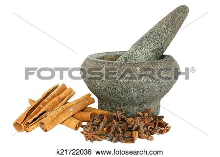 Stock Images of Herb and spices with stone pounder k21722036.
