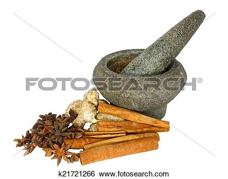 Stock Images of Herb and spices with stone pounder k21721266.