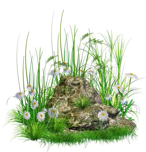 Grass with Rocks Transparent PNG Clipart.
