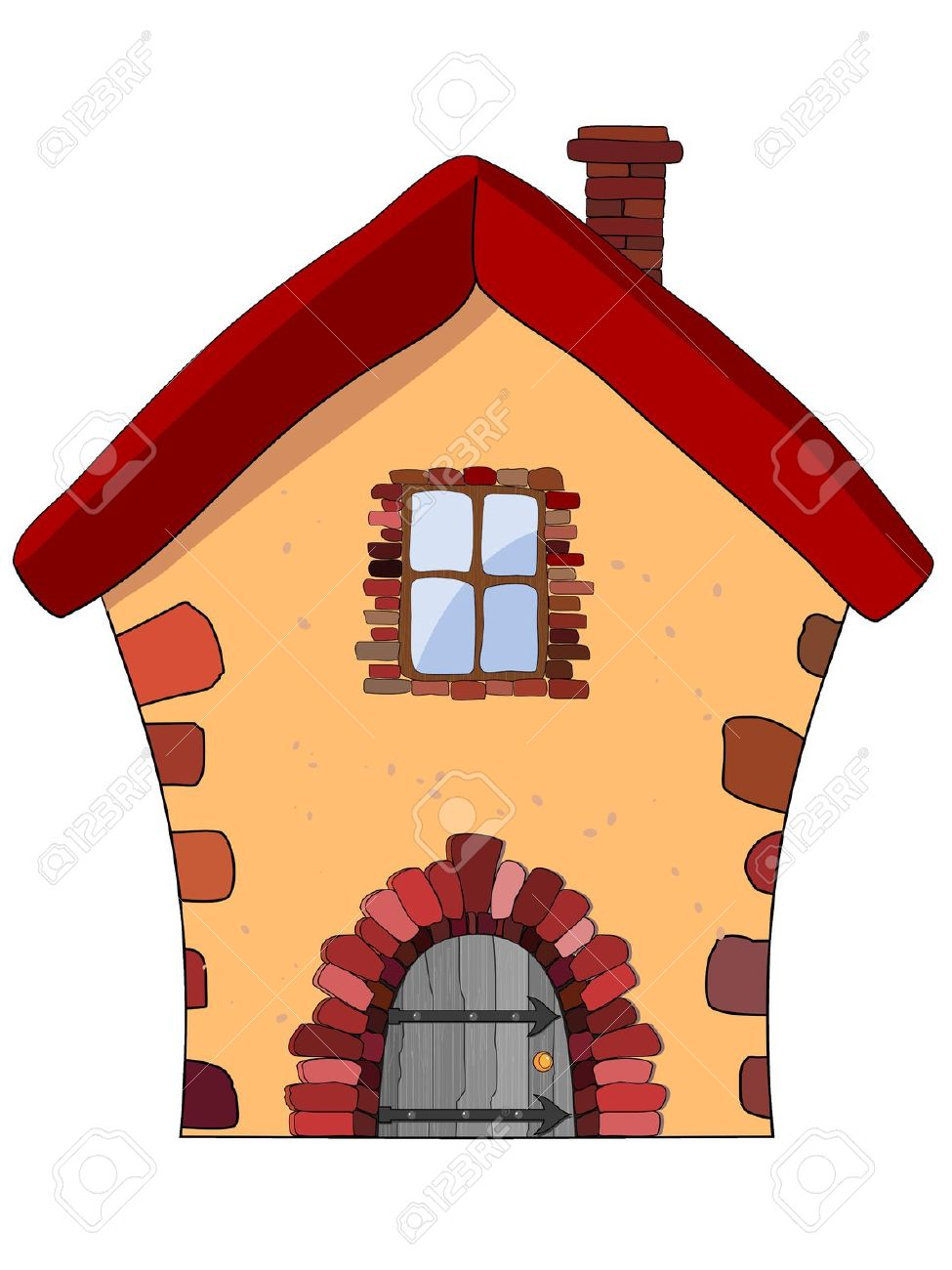 Stone House Silhouette Clipart.