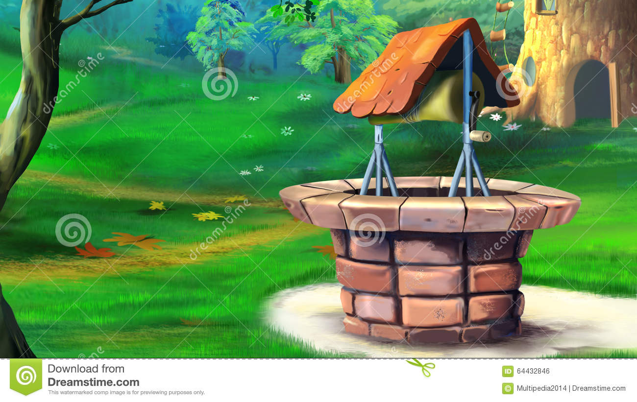 Stone Well In The Meadow. Stock Illustration.