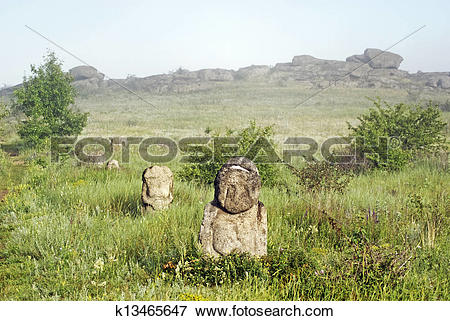 Stock Illustration of Stone idol in the steppe k13465647.