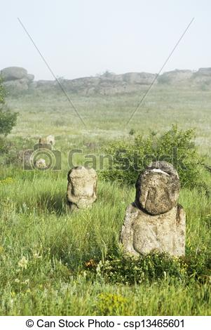 Stock Illustration of Stone idol in the steppe. National Park.