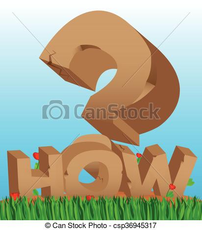 Vector Clip Art of Stone how and a big question mark.