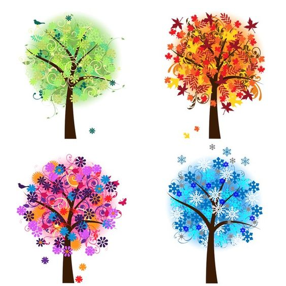 Four Seasons Trees Clipart Clip Art, Spring Summer Winter Fall.