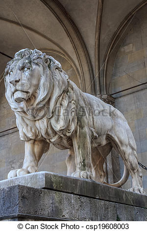 Stock Photography of Stone lion sculpture in Munich.