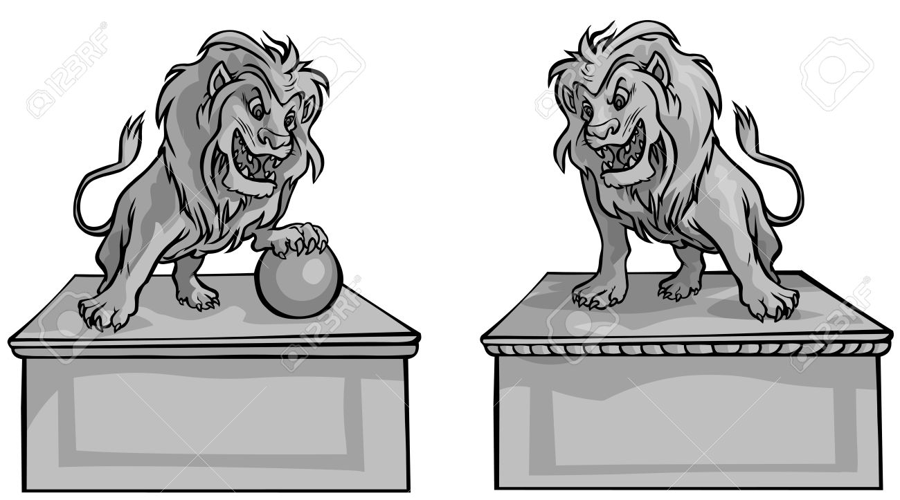 Stone Lions Royalty Free Cliparts, Vectors, And Stock Illustration.