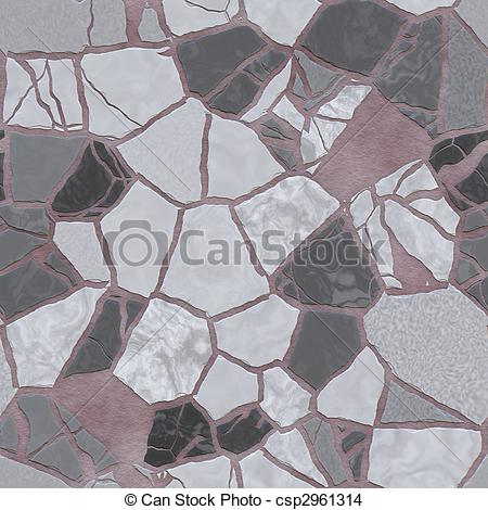Drawing of Broken mosaic background texture.