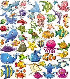 Instant Download 42 Cute Sea Animal Clip Art by OneStopDigital.