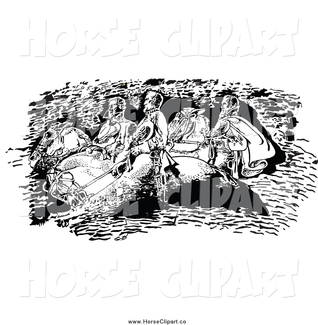 Clip Art of a Black and White Stone Mountain Confederates by.