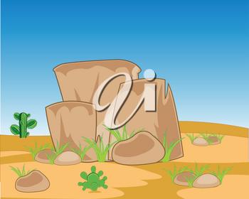 Stone mountain amongst lifeless desert with cactus #1764605.