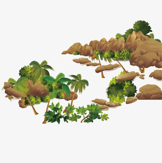 Stone Mountain And Coconut Tree Vector Material, Coconut.