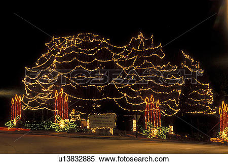 Stock Image of Christmas decorations, Stone Mountain, GA, Georgia.