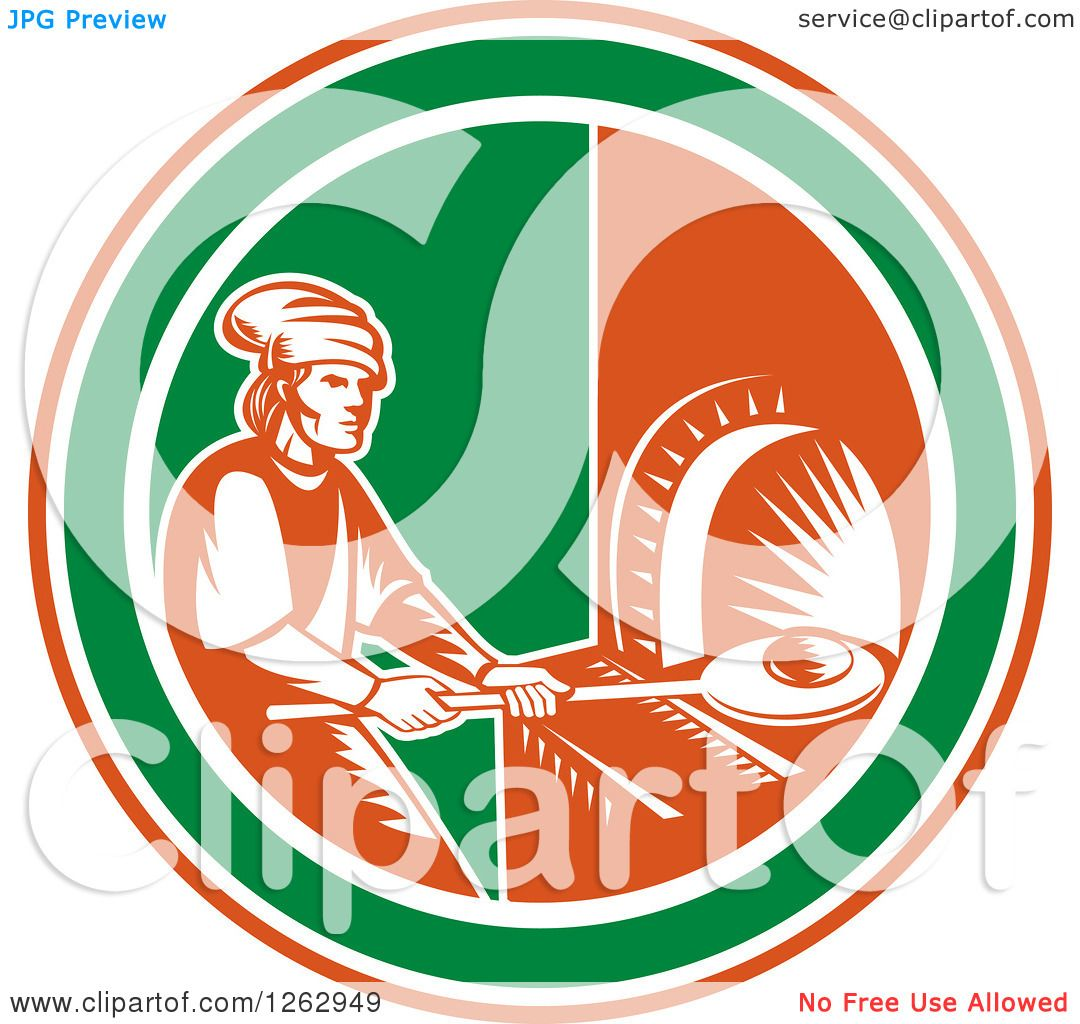 Clipart of a Retro Woodcut Medieval Baker Putting Bread in a Stone.