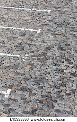 Stock Images of Cobbled parking lot k15333336.