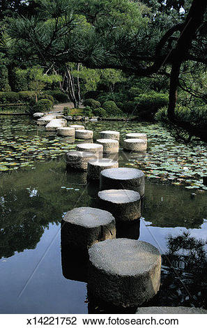 Stock Photo of Stone Path Across a Pond in Kyoto, Japan x14221752.
