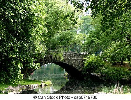 Stock Photography of Stone Bridge Over Pond.