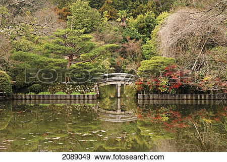Stock Photograph of Japanese garden with pond and stone bridge.