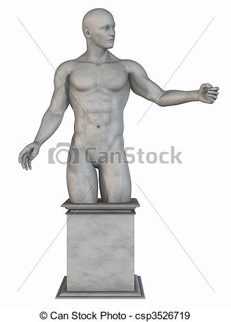 Stock Illustration of Male Stone Statue.