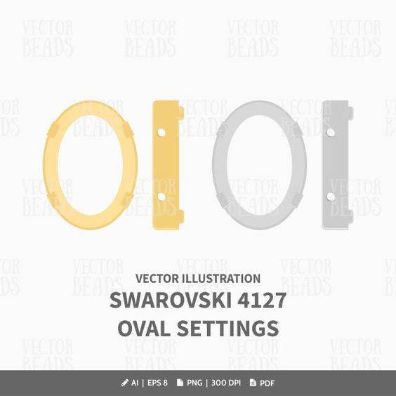 Oval Fancy Stone Setting 4127 Vector Illustration.