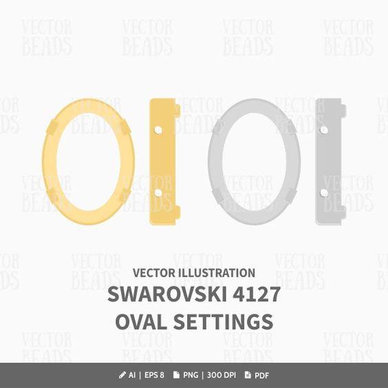 Oval Fancy Stone Setting 4127 Vector Illustration.