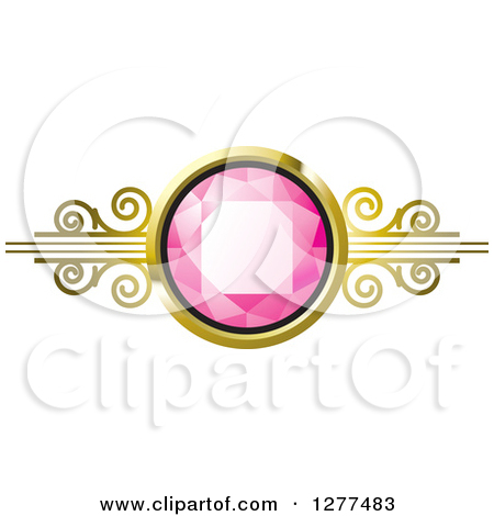 Clipart of a Red Ruby or Diamond in a Gold Setting.