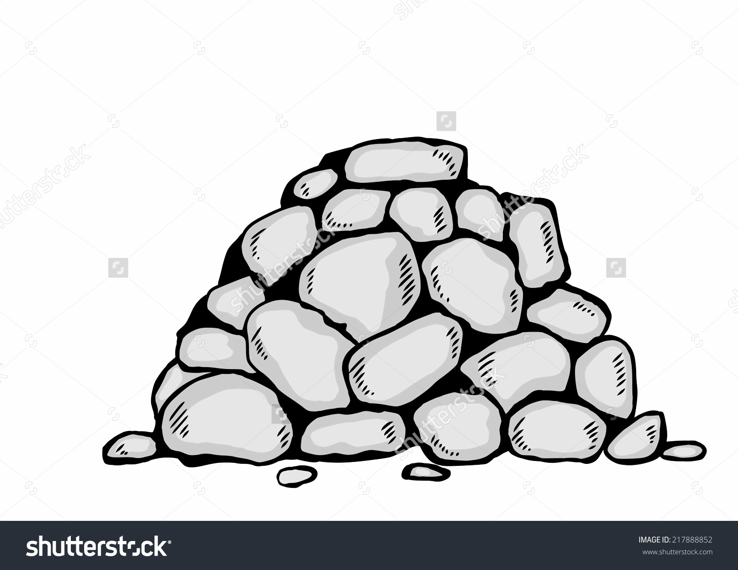 Cartoon Pile Stones Stock Illustration 217888852.