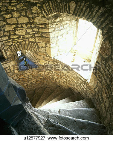 Picture of Stone walls and spiral stone stairs u12577927.