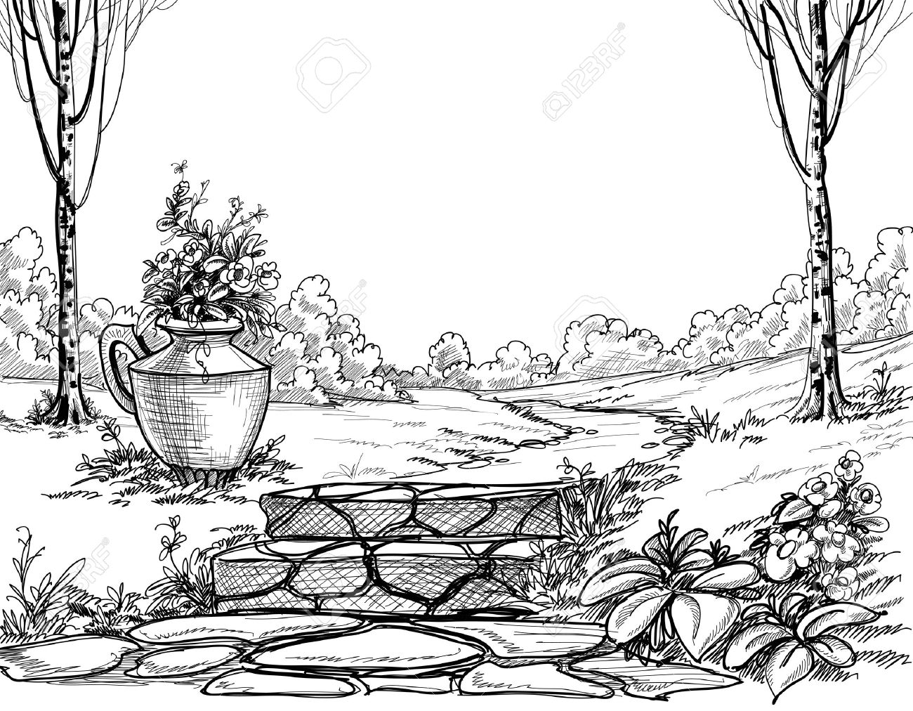 Stone Stairs In The Park Pencil Drawing Royalty Free Cliparts.