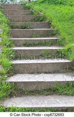 Stock Photos of Curved stone steps stairway.