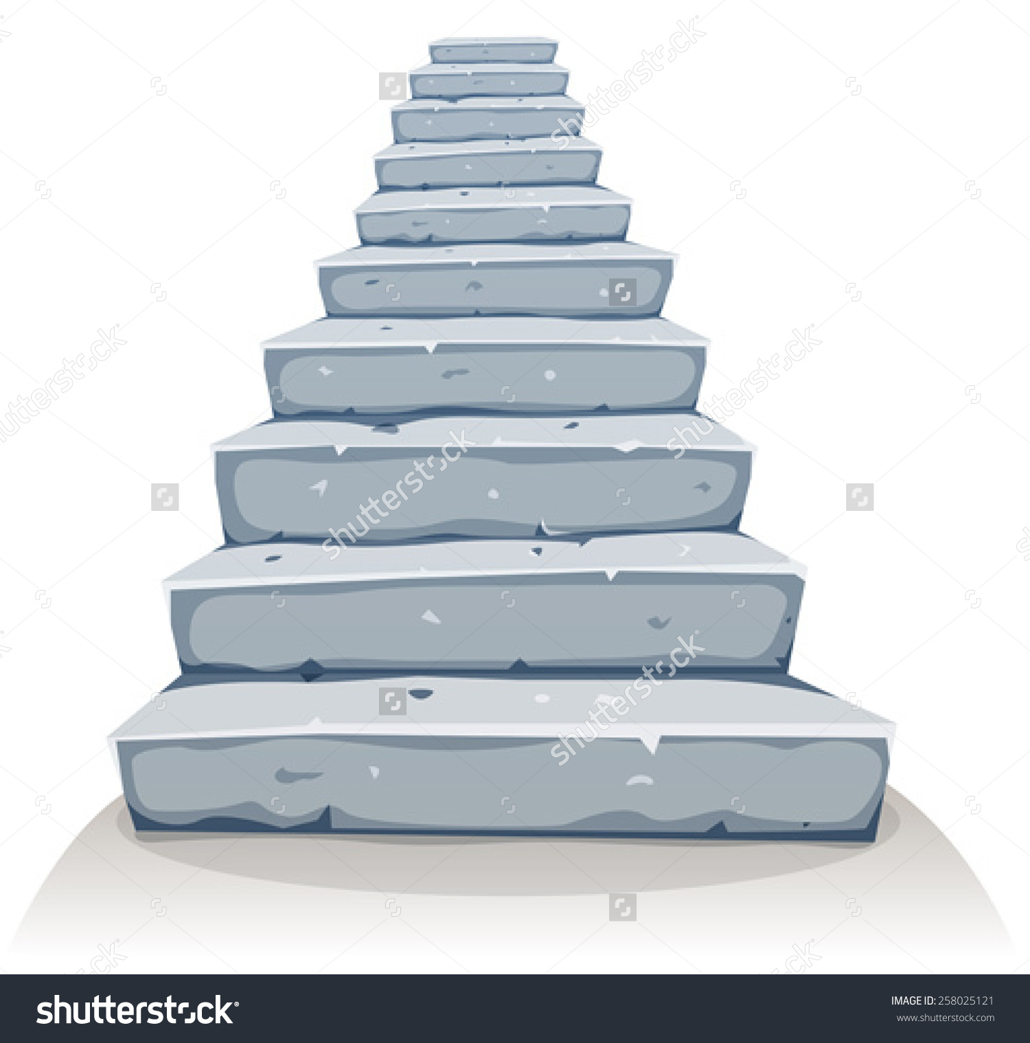 Cartoon Stone Stairs Illustration Cartoon Funny Stock Vector.