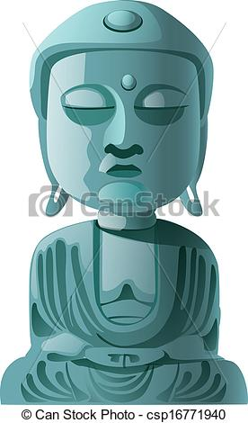 EPS Vector of stone statue of Buddha.