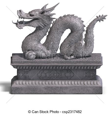 Clip Art of chinese dragon stone statue.