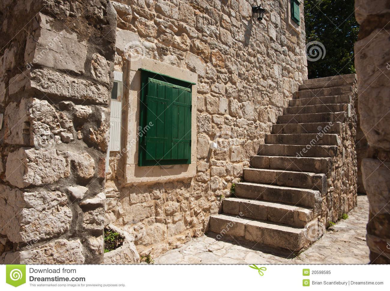 Solid Stone Wall And Steps. Royalty Free Stock Photo.