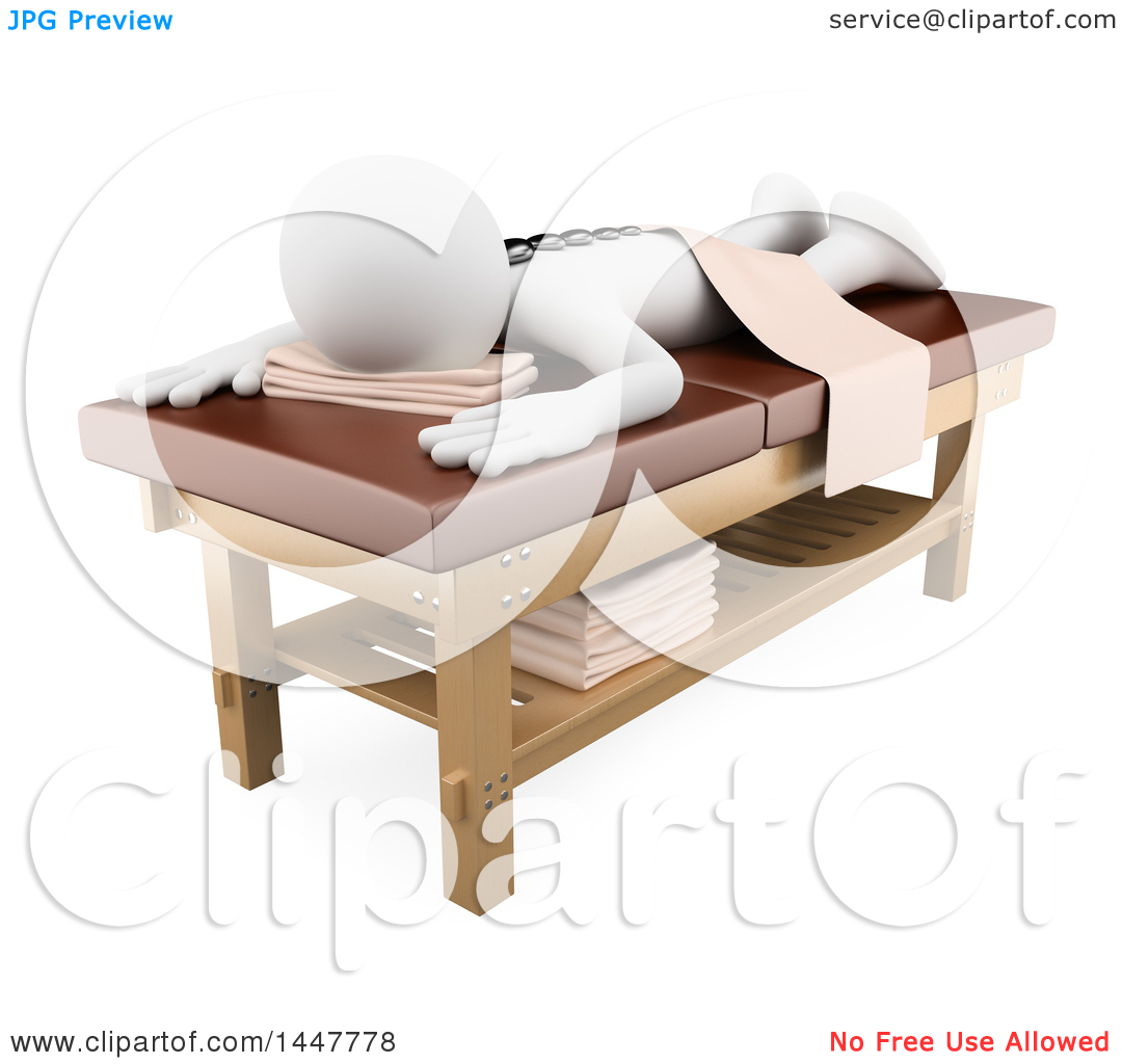 Clipart of a 3d White Person on a Hot Stone Massage Table, on a.